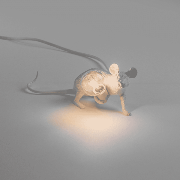 Mouse Lamp White Lyie Down