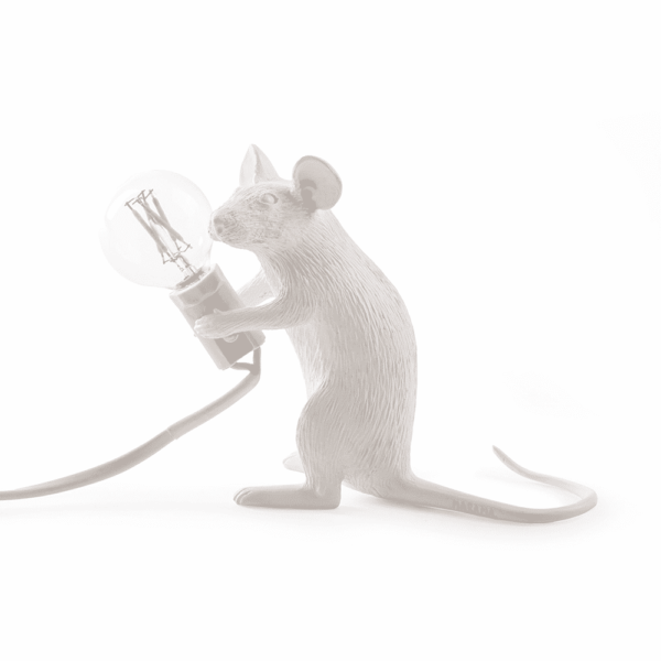 Mouse Lamp White Sitting