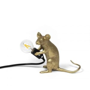 Mouse Lamp Gold Sitting